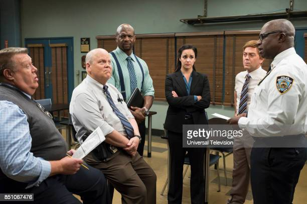 NINE 'The Big House Pt 2' Episode 502 Pictured Joel McKinnon Miller as Norm Scully Dirk Blocker as Michael Hitchcock Terry Crews as Terry Jeffords...