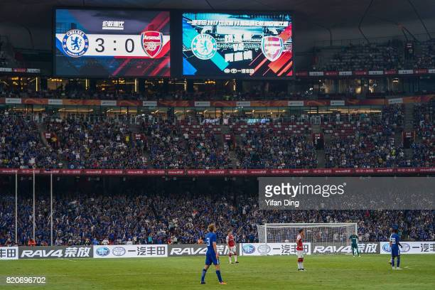 The big Screen of Birds Nest shows the final score during the PreSeason Friendly match between Arsenal FC and Chelsea FC at Birds Nest on July 22...