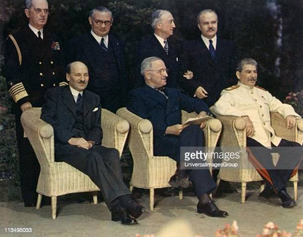 Clement Attlee Harry Truman and Joseph Stalin seated outdoors at Potsdam Conference 1945