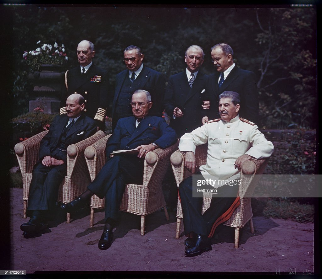 The 'Big Three' posing for photographers just before the final conference meeting at Potsdam Left to right seated Prime Minister Clement Attlee of...