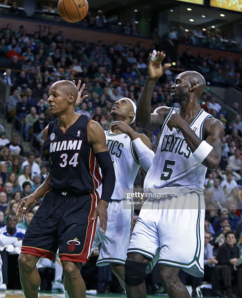 The Big Three were back together again at the Garden, but it wasn't quite the same, as Miami's Ray Allen and the Celtics' Paul Pierce and Kevin Garnett were under the basket together after Allen hit a driving layup late in the game. The Boston Celtics hosted the Miami Heat in an NBA regular season game at the TD Garden.