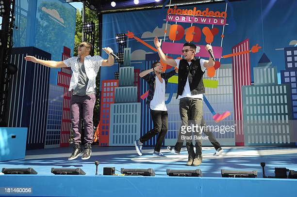 The Big Time Rush take the stage at Nickelodeon's 10th Annual Worldwide Day of Play in Brooklyn's Prospect Park on September 21 2013 in New York City