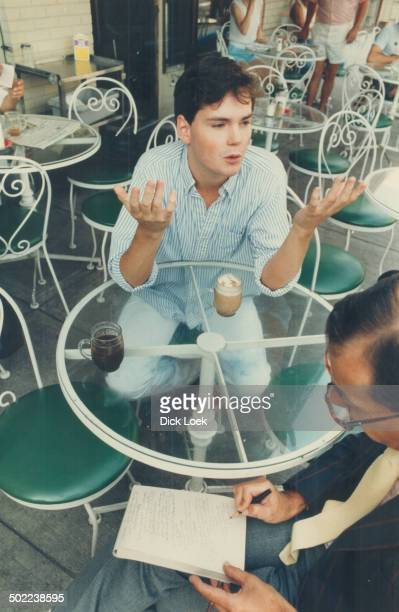 The big time Young actor Jonathan Crombie experiences the thrill of his capuccino and an interview with The Star's Sid Adilman at Chez Capuccino cafe...