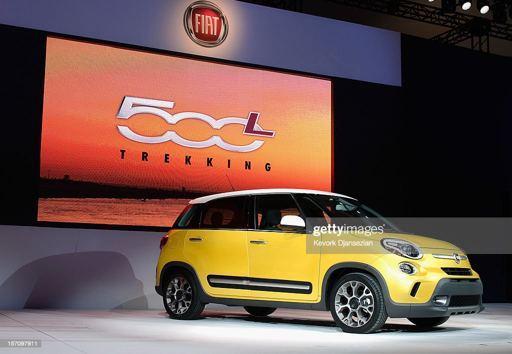 The bigger and roomier Fiat 500L Trekking is unveiled during the Los Angeles Auto show on November 28 2012 in Los Angeles California The LA Auto Show...