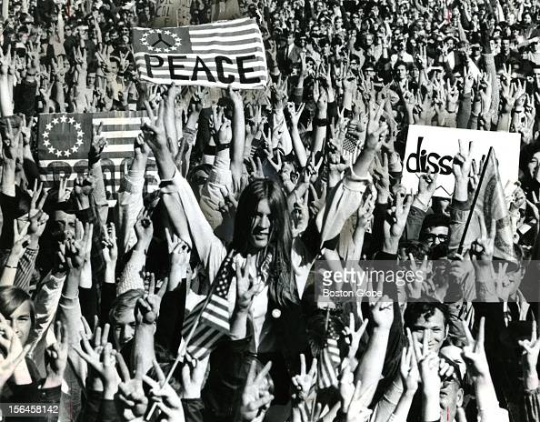 The biggest demonstration in Boston's history happened on Vietnam Moratorium Day as an estimated 100000 persons shouted in cadence on Boston Common...