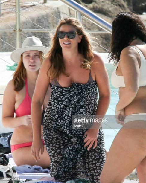 The Biggest Loser host Fiona Falkiner pictured swimming at Ice Bergs with model friend Jessica Vander Leahy on May 7 2017 in Sydney Australia