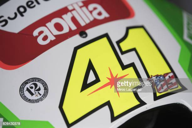The bike of Aleix Espargaro of Spain and Aprilia Racing Team Gresini remember Angel Nieto and Nicky Hayden during the MotoGp of Czech Republic Free...