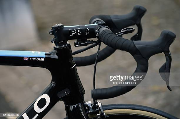 The bike of Britain's Christopher Froome is pictured before a training session of the Britain's Sky cycling team on July 3 2014 in Leeds northwestern...