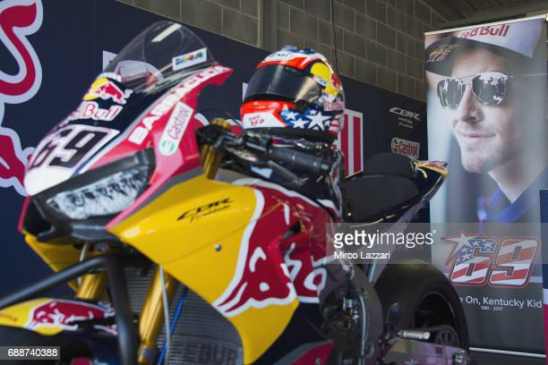 The bike of Nicky Hayden of USA and Red Bull Honda World Superbike team with the black number 69 park in box in memory of Nicky Hayden during the FIM...