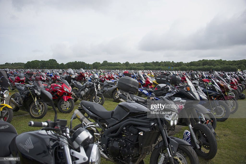 The bike park in the parking area during the MotoGP race during the MotoGp Of Holland - Race at TT Circuit Assen on June 29, 2013 in Assen, Netherlands.