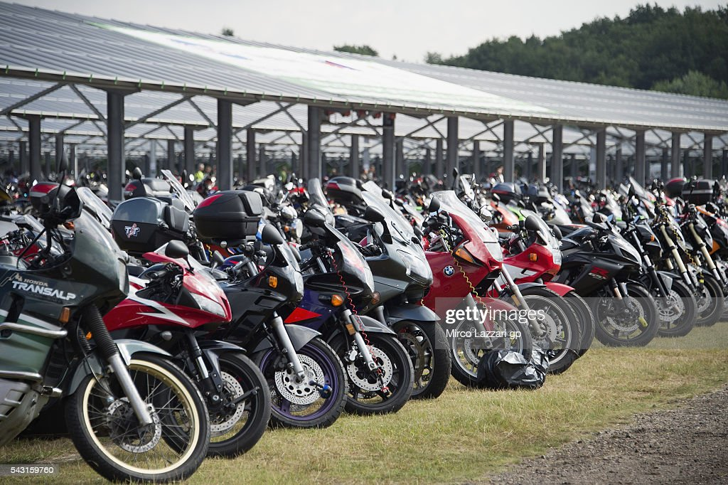 The bikes park before the MotoGP race during the MotoGP Netherlands - Race at on June 26, 2016 in Assen, Netherlands.