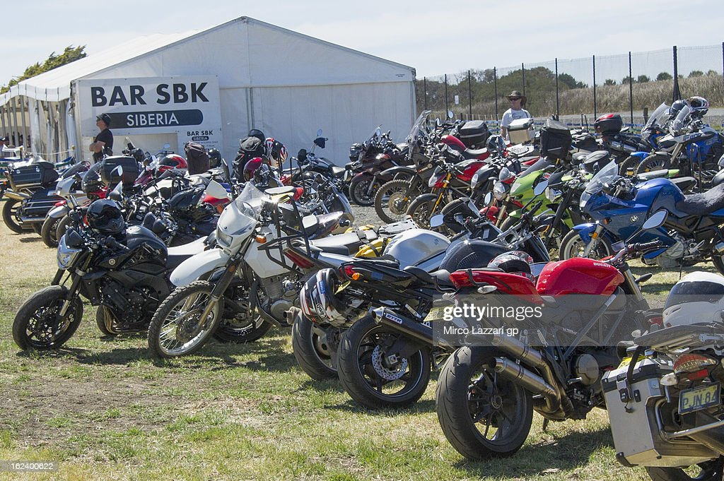 The bikes park during the qualifying practice during the round first of 2013 Superbike FIM World Championship at Phillip Island Grand Prix Circuit on February 23, 2013 in Phillip Island, Australia.