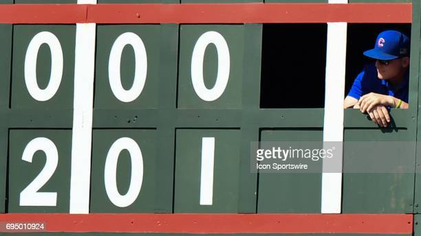 The binary coder looking on during the game between the Colorado Rockies and the Chicago Cubs on June 11 2017 at Wrigley Field in Chicago IL
