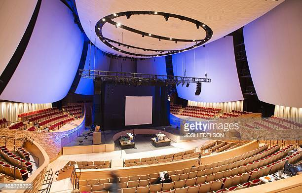 The Bing auditorium is seen before the start of 'The Demo' at Stanford University in Stanford California on March 31 2015 The story follows Douglas...