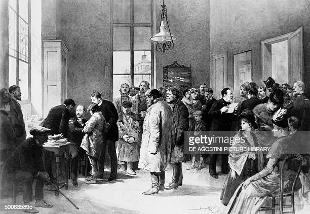 The biologist Louis Pasteur doing the roll call of the sick while his assistant inoculates them with the rabies vaccine engraving Paris Musée Pasteur...