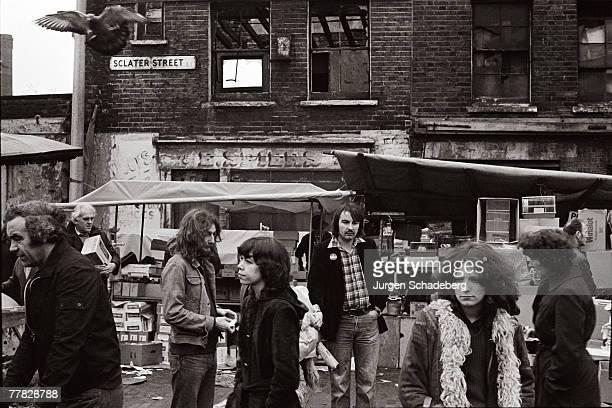 The bird market in Sclater Street in London's East End 1979