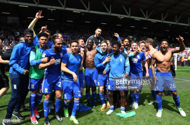 The Birmingham City team celebrate after they survie relegation after the Sky Bet Championship match between Bristol City and Birmingham City at...