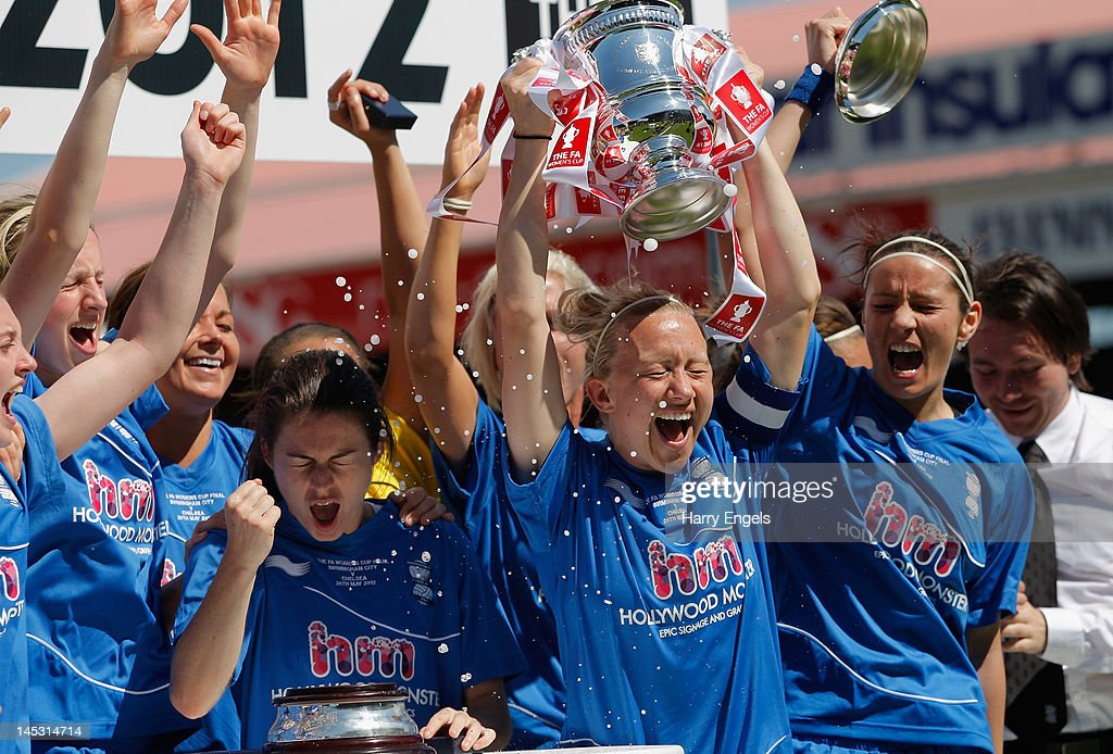 The Birmingham team celebrate winning the FA Women's Cup Final between Birmingham City Ladies FC and Chelsea Ladies FC at Ashton Gate on May 26 2012...