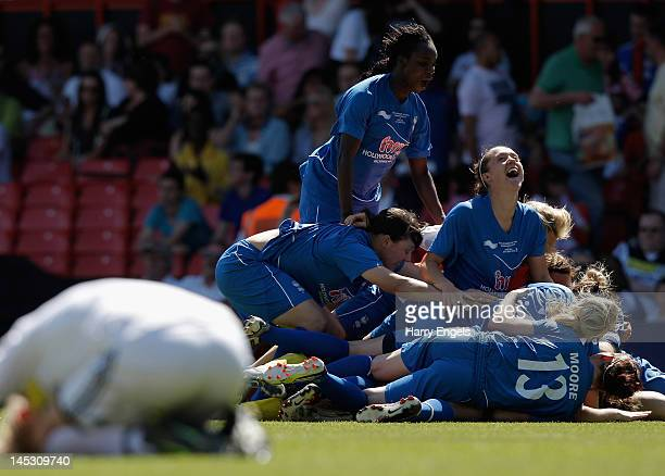 The Birmingham team celebrate winning the match during the FA Women's Cup Final between Birmingham City Ladies FC and Chelsea Ladies FC at Ashton...