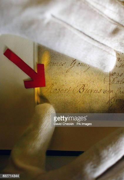 The birth certificate of Scottish poet Robert Burns at the General Register Office for Scotland in Edinburgh