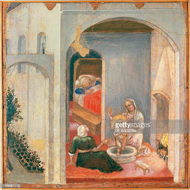 The birth of St Nicholas a panel from the predella of the Quaratesi Polyptych by Gentile da Fabriano tempera on panel 355 x 36 cm