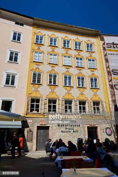 The birth place of the famous classical composer and musician Wolfgang Amadeus Mozart on April 19 2015 in Salzburg Austria