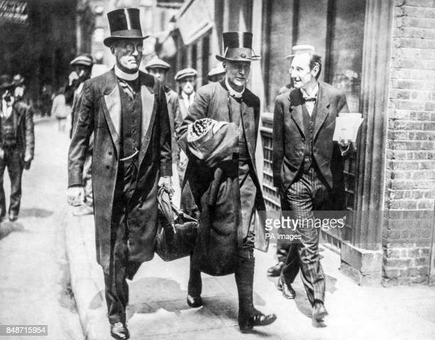 The bishop's chaplain Lord Bishop of London Dr Winnington Ingram and Horace Sanders on their way to St Bride's House for lunch in the press club A...