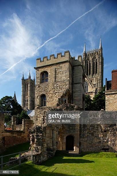 The Bishop's Palace within the grounds of Lincoln cathedral consecrated in 1092 English Gothic style Lincoln Lincolnshire United Kingdom