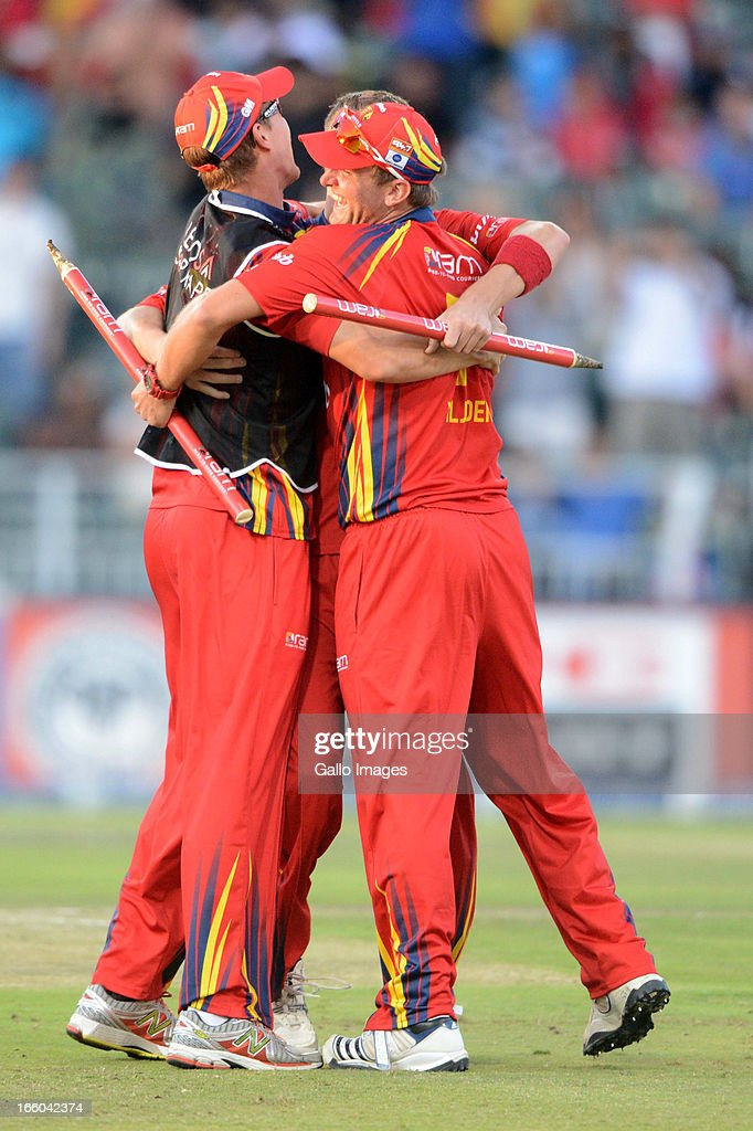 The Bizhub Highveld Lions celebrate during the 2013 RAM Slam T20 Challenge Final between Bizhub Highveld Lions and Nashua Titans at Bidvets Wanderers Stadium on April 07, 2013 in Johannesburg, South Africa.