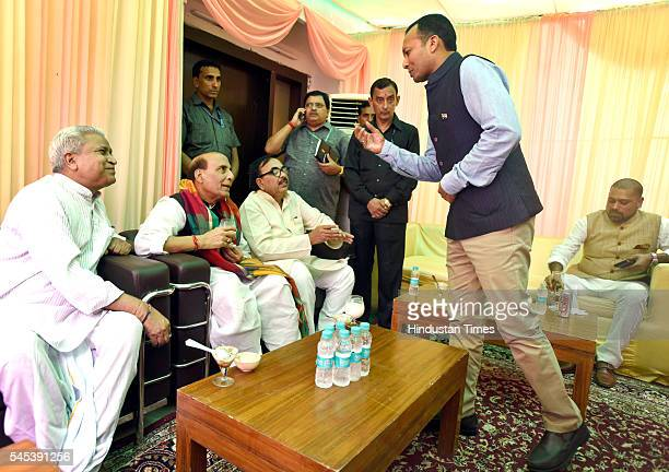 The BJP leader Raj Nath Singh and others as Congress leader Navin Jindal during the Iftar Party at his residence at Pandit Pant Marg on July 7 2016...