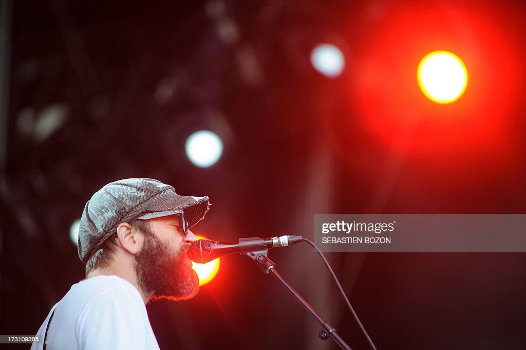 The Black Angels US band singer Alex Maas performs on satge on July 7, 2013 at the Eurockeennes de Belfort music festival in the eastern France city of Belfort. AFP PHOTO / SEBASTIEN BOZON