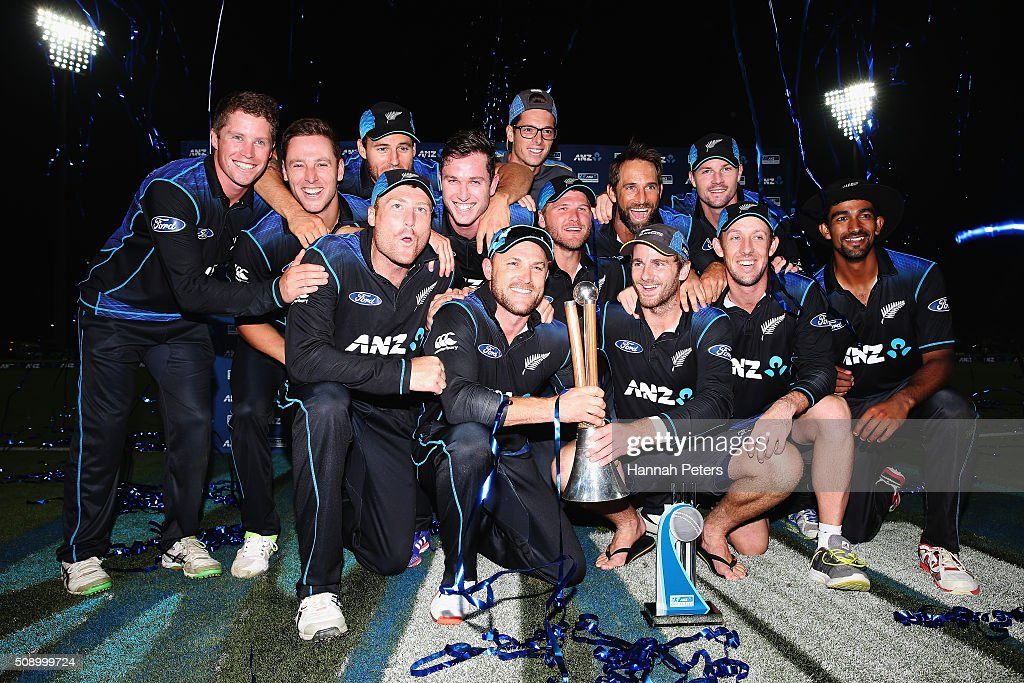 The Black Caps celebrate after winning the 3rd One Day International cricket match between the New Zealand Black Caps and Australia at Seddon Park on February 8, 2016 in Hamilton, New Zealand.