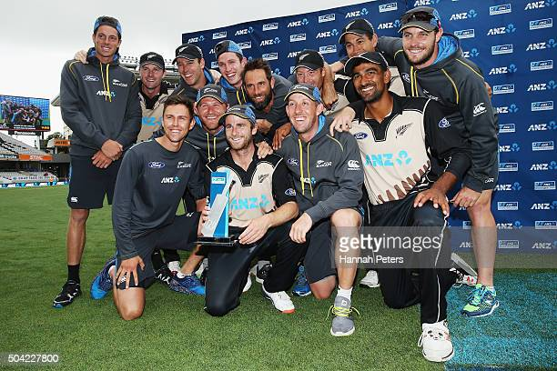 The Black Caps celebrate after winning the Twenty20 International match between New Zealand and Sri Lanka at Eden Park on January 10 2016 in Auckland...