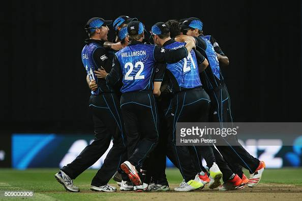 The Black Caps celebrate winning the 3rd One Day International cricket match between the New Zealand Black Caps and Australia at Seddon Park on...
