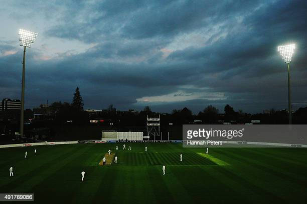 The Black Caps play a match with the new pink ball at night during a New Zealand cricket training session at Seddon Park on October 8 2015 in...
