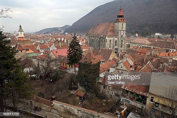 The Black Church a Luthern Gothic church built by Saxon immigrants in the 15th century stands in the historic district on March 9 2013 in Brasov...