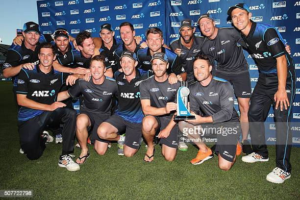 The Black Cpas celebrate after winning the One Day International match between New Zealand and Pakistan at Eden Park on January 31 2016 in Auckland...