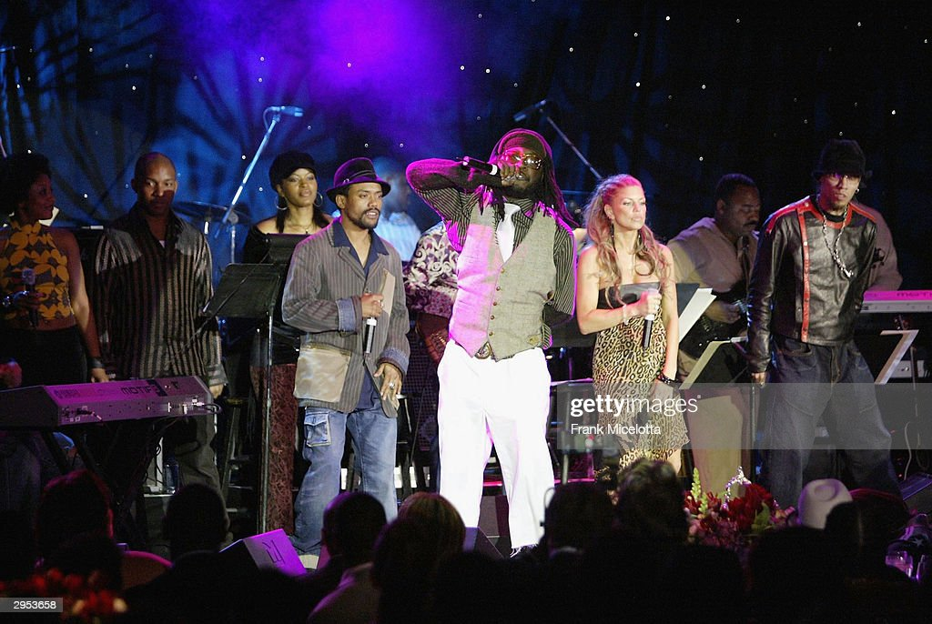 The Black Eyed Peas perform at the legendary Clive Davis Pre-Grammy party at the Beverly Hills Hotel in Los Angeles, California, February 7, 2004.