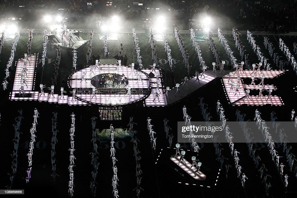 The Black Eyed Peas perform during the Bridgestone Super Bowl XLV Halftime Show at Cowboys Stadium on February 6, 2011 in Arlington, Texas.