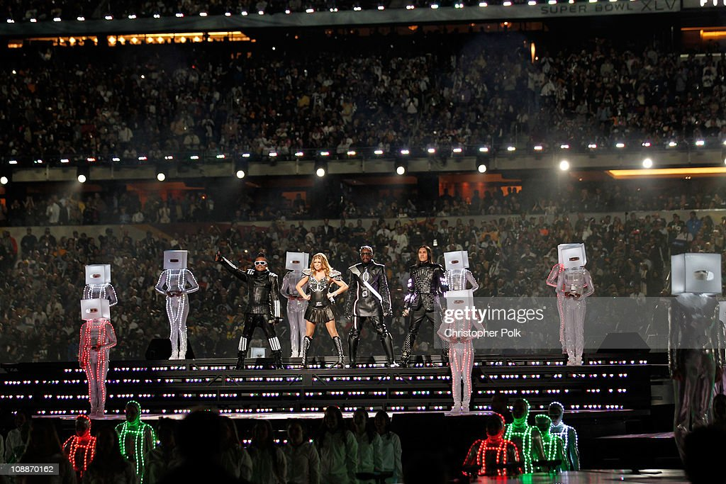 The Black Eyed Peas perform during the Bridgestone Super Bowl XLV Halftime Show at Dallas Cowboys Stadium on February 6, 2011 in Arlington, Texas.