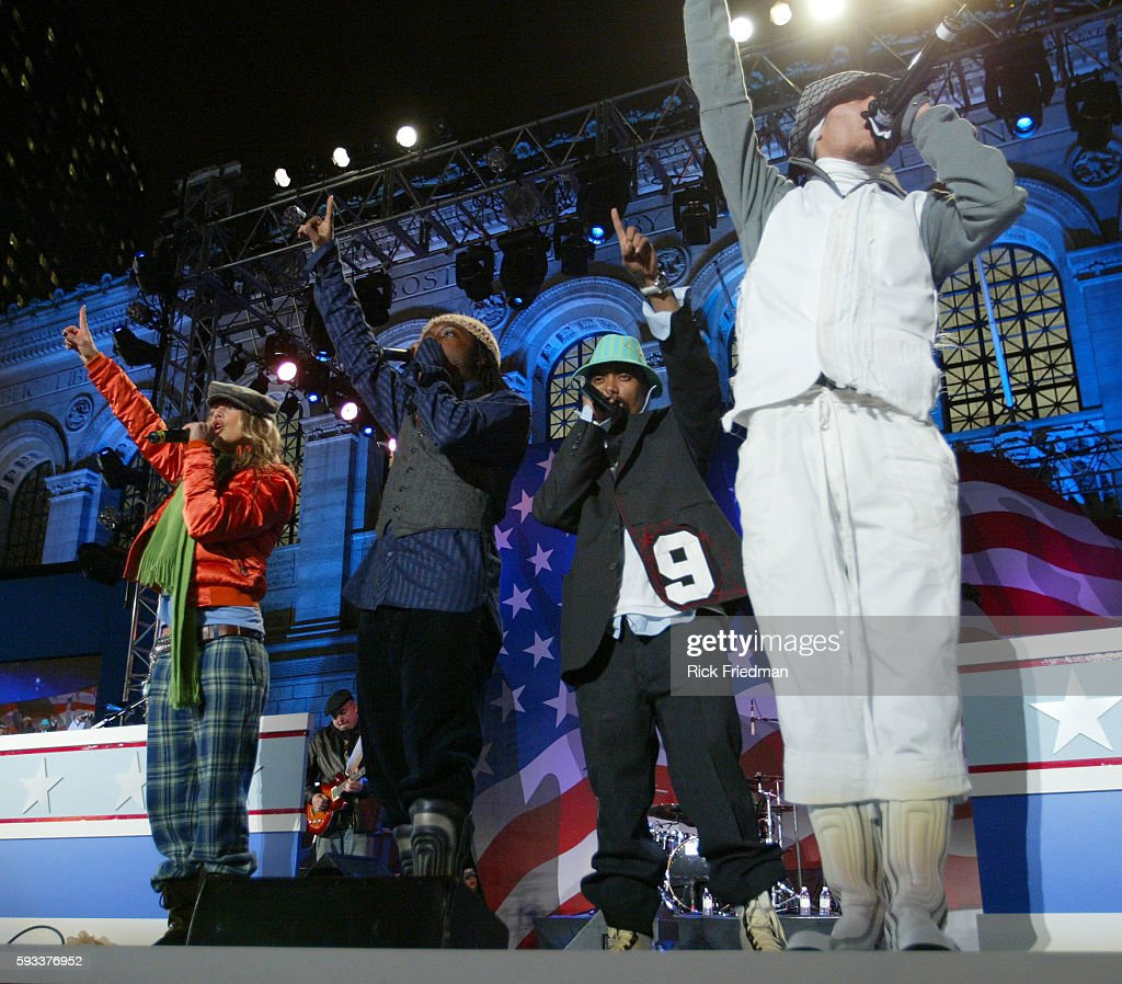 The Black Eyed Peas perform during the John Kerry Election night event in Copley Square