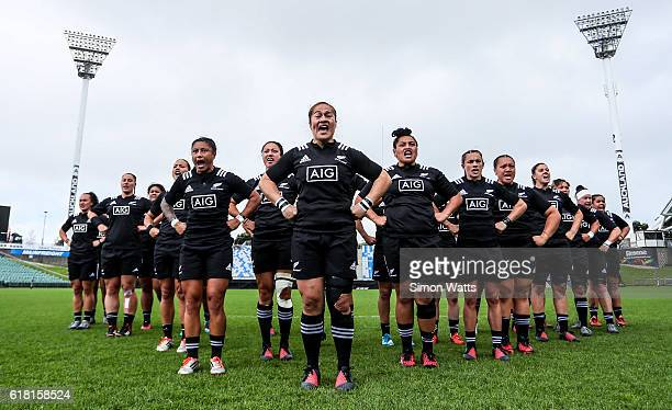 The Black Ferns during the haka during the International Test match between the New Zealand Black Ferns and Australia Wallaroos at North Harbour...