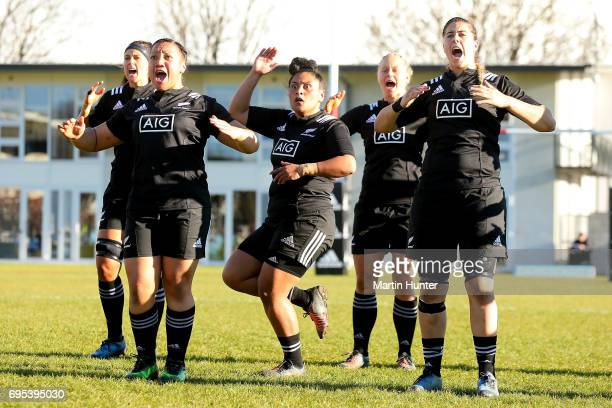 The Black Ferns perform a haka during the International Women's Test match between the New Zealand Silver Ferns and the Australian Wallaroos at Rugby...