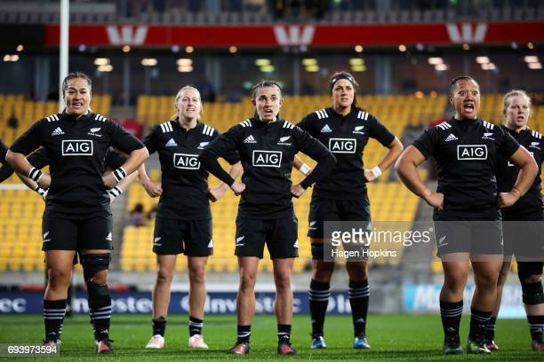 The Black Ferns perform a haka during the Women's International Test match between the New Zealand Black Ferns and Canada at Westpac Stadium on June...