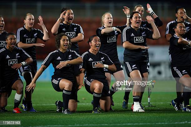The Black Ferns perform the haka before game two of the international series between the New Zealand Black Ferns and England at Waikato Stadium on...