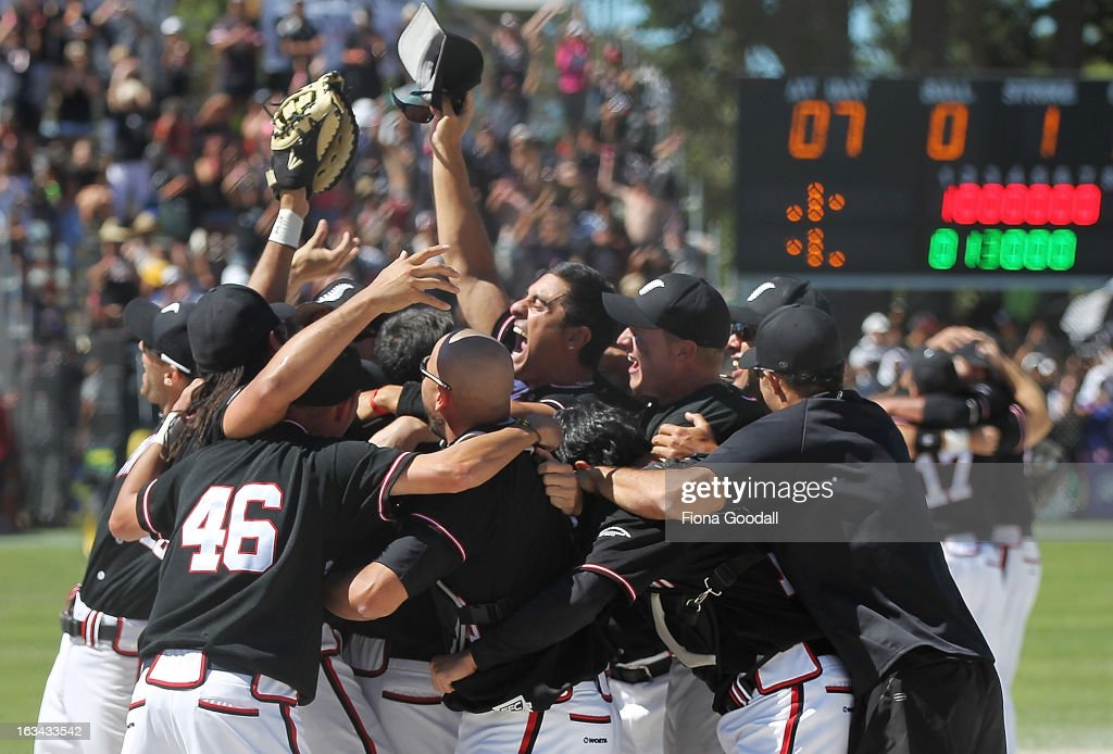 The Black Sox celebrate winning the Softball World Championship over Venezuela at Tradstaff Sports Stadium on March 10, 2013 in Auckland, New Zealand.
