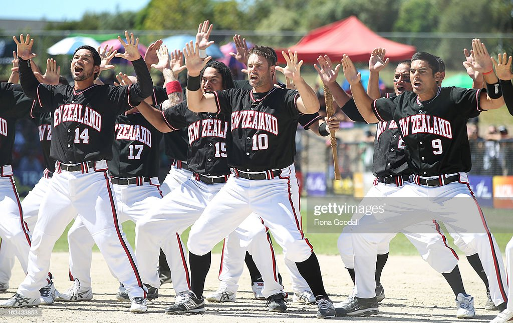 The Black Sox perform the haka before the gold medal match between New Zealand and Venezuela at Tradstaff Sports Stadium on March 10, 2013 in Auckland, New Zealand.