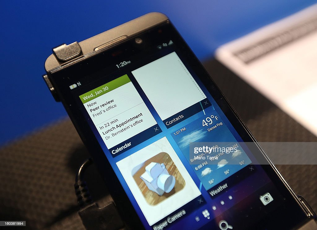 The Blackberry Z10 is displayed at the BlackBerry 10 launch event at Pier 36 in Manhattan on January 30, 2013 in New York City. The new smartphone and mobile operating system is being launched simultaneously in six cities.