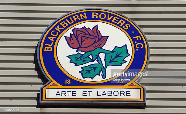 The Blackburn Rovers logo outside Ewood Park home of Blackburn Rovers FC on March 2 2011 in Blackburn England
