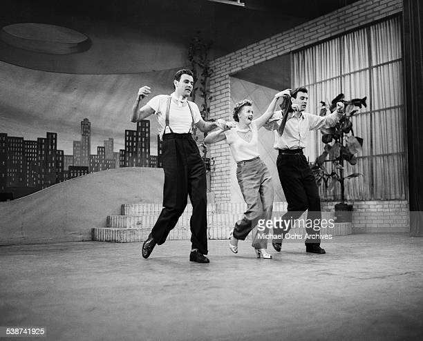 The Blackburn Twins and Martha Stewart perform during 'Toast of the Town' hosted by Ed Sullivan in New York New York